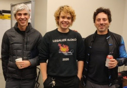Photo - Larry Page, Jacob Ritchie and Sergey Brin