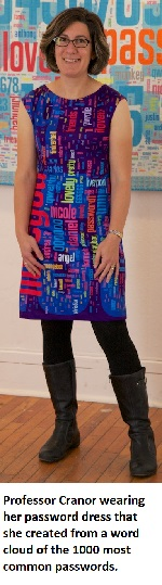 Image: Prof. Cranor wearing password dress