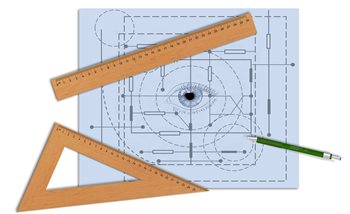 Image: Blueprint with eye image and rulers