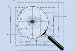 Image: Blueprint with eye image and magnifying glass