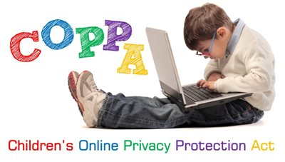"Young boy with laptop computer on his lap, typing. Header: ""COPPA Children's Online Privacy Protection Act""."