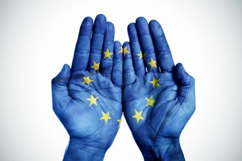 Image: EU flag on hands