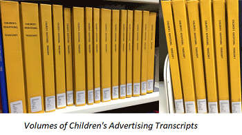 Image: Volumes of Children's Advertising Transcripts
